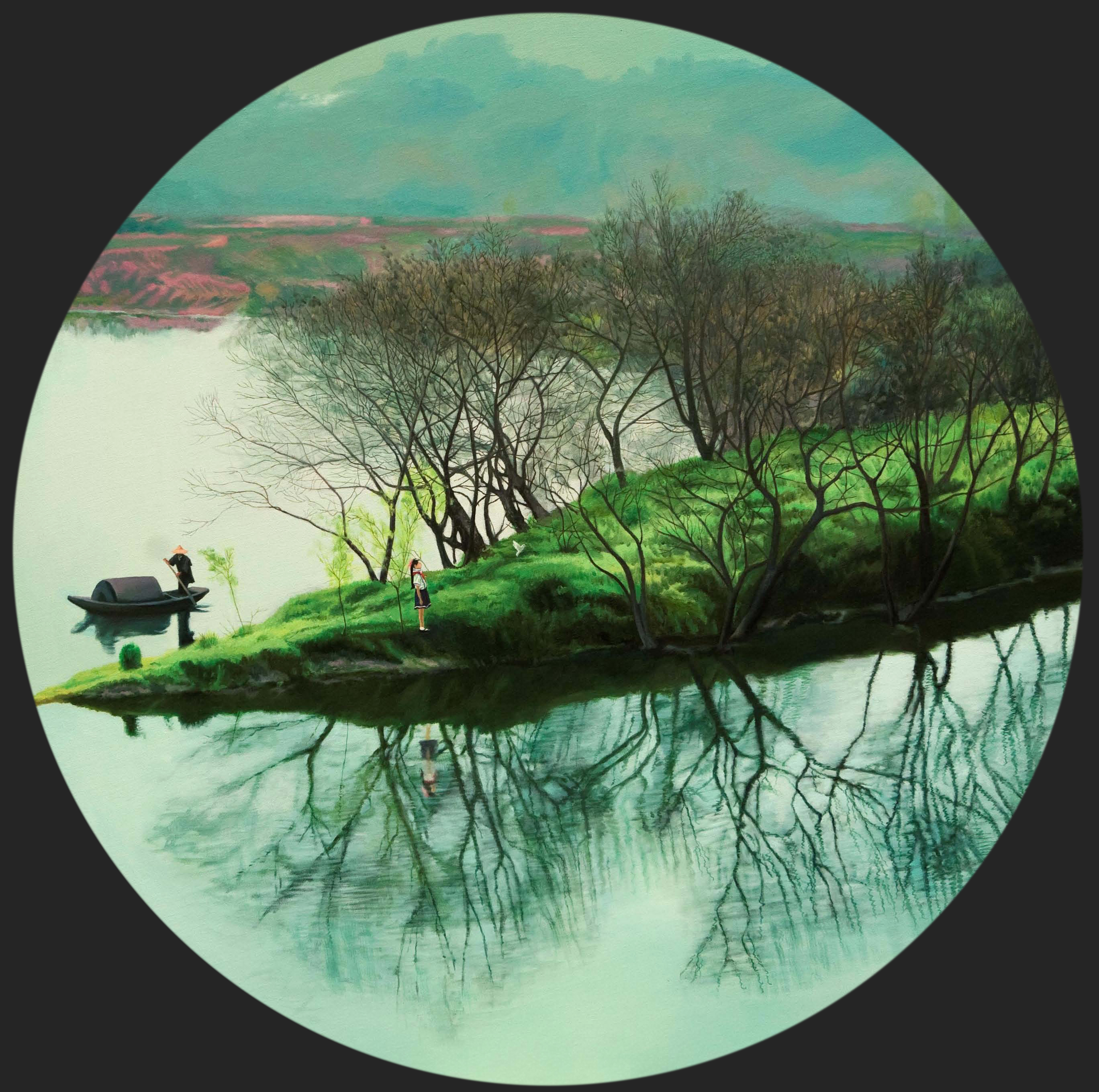 THEY 他们 | In Between the Water and Cloud | oil on canvas | diameter 120cm | 2010