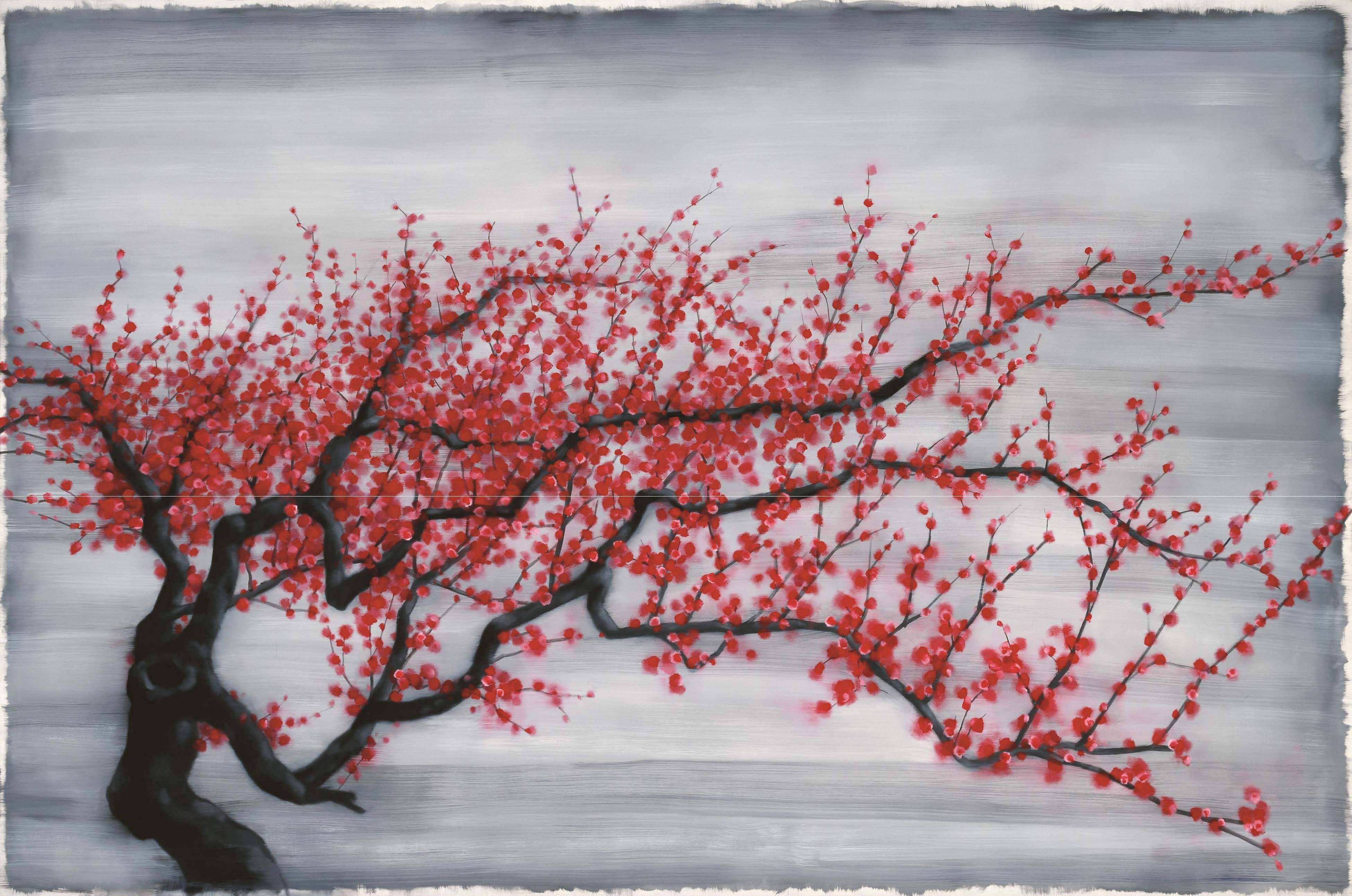 Zhang Xiaogang 张晓刚 | Red Plum Tree | oil on canvas | 200 x 300 cm | 2011